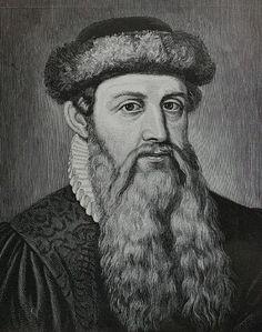 Johannes Gutenberg  né vers 1400 à Mayence dans le Saint-Empire romain germanique et mort le 3 février 1468 dans sa ville natale. Il était un imprimeur allemand dont l'invention des caractères métalliques mobiles a été déterminante dans la diffusion des textes et du savoir.