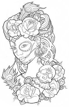 Beautiful sugar skull maiden colouring page