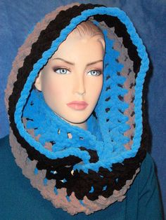 Hey, I found this really awesome Etsy listing at https://www.etsy.com/listing/257910999/black-crochet-infinity-scarf-blue-chunky