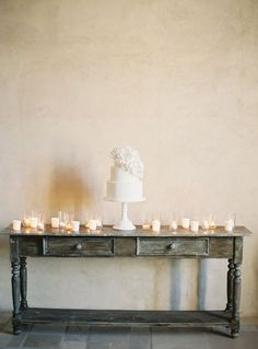 Simple Elegant Wedding Cake Table | Jose Villa Photography | Ivory and Oak - Ethereal Spring Wedding Invitation in Sheer Neutrals - http://heyweddinglady.com/ivory-oak-ethereal-spring-wedding-inspiration/