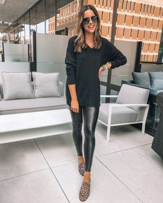 h by halston v-neck boyfriend sweater, QVC # Casual Outfits dresses leather leggings H by Halston Boyfriend Sweaters - The Styled Press Casual Leggings Outfit, Legging Outfits, Leggings Fashion, Casual Outfits, Cute Outfits, Vegas Outfits, Leather Pants Outfit, Spanx Faux Leather Leggings, Leather Leggings Casual