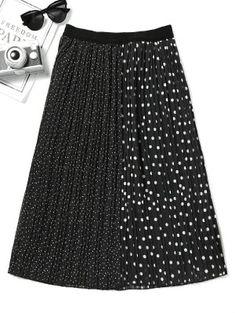 Polka Dot Contrast Pleated Skirt - Black M
