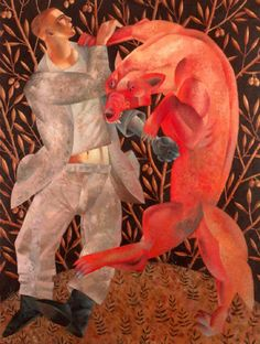 Clive Hicks-Jenkins - Works - Saints and their beasts - Furious Embrace acrylic on panel 82x62 cm