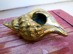 Brass conch shell seashell  Mid century brass by RedRoofCottage