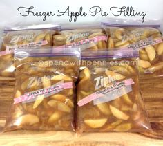 This easy, homemade pie filling is so deliciou… Freezer Apple Pie Filling recipe. This easy, homemade pie filling is so delicious and is so much better than canned pie filling! Freezer Apple Pie Filling, Homemade Apple Pie Filling, Apple Filling, Homemade Pies, Homemade Recipe, Freezer Cooking, Freezer Meals, Freezer Recipes, Desserts