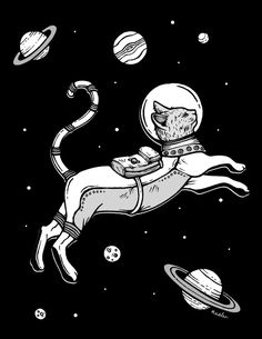 Space cat Tap the link for an awesome selection cat and kitten products for your feline companion! I Love Cats, Crazy Cats, Illustrations, Illustration Art, Tattoo Gato, Space Cat, Cat Drawing, Cat Art, Street Art