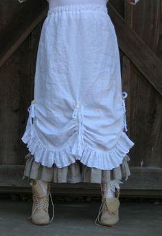 layered skirt over underskirt.