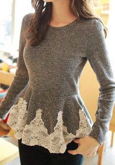 Grey Patchwork Lace Corset Round Collar Long Sleeve Slim Sweet Fashion Pullover Sweater Lace Dresses, dress, clothe, women's fashion, outfit inspiration, pretty clothes, shoes, bags and accessories