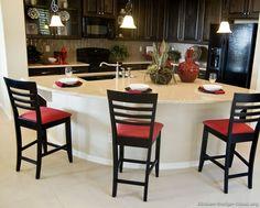 #Kitchen Idea of the Day: Espresso Kitchens - Traditional Dark Wood Kitchen with quarter-circle (semi-circle) island shape