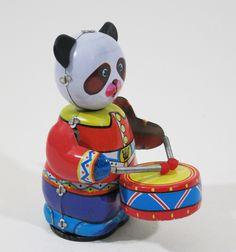 Blikken speelgoed Panda met trommels