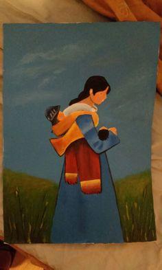 Madre e hijos. Acrílico pintado en 2008.