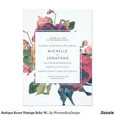 Antike Rosen Vintage Boho Hochzeits-Einladung 12,7 X 17,8 Cm Einladungskarte