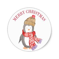 Winter Penguin Personalized Classic Round Sticker - diy cyo customize create your own personalize