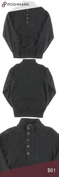 Vintage 1946 - Navy Ribbed Mock Neck Sweater XL Vintage 1946 - Mens Navy Ribbed Knit Mock Neck Long Sleeves Sweater XL  Manufacturer: Vintage 1946 Size: XL Size Origin: US Manufacturer Color: Dark Denim Retail: $165.00 Condition: New with tags Style Type: Sweater Collection: Vintage 1946 Sleeve Length: Long Sleeve Neckline: Mock Turtleneck Material: Material Tag Not Included Fabric Type: Ribbed Knit Specialty: Button Vintage 1946 Sweaters