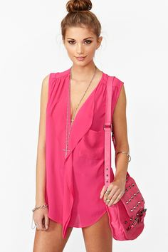 Ruffled Pocket Blouse in Magenta