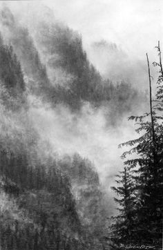 A heavy fall rain drenches forested cliffs on the northern terminus of Idaho's Bitterroot Range. Mist cloaks the rock and pours between the ridges like a slow, cloudy waterfall. [Amazing Art by Doug Flückiger]