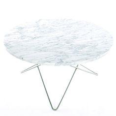 O-Table, Hvid/Stål Ø 80 cm