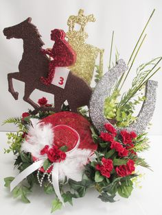Horse Themed Centerpieces | This centerpiece will be visible from all sides. This shows the trophy ...