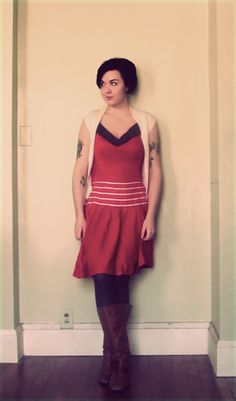 Dress made by me, thrifted cardigan, Steve Madden boots.