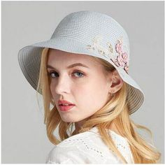 Fresh flower straw hat for women packable UV protection sun hats