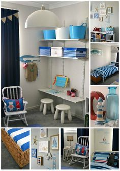 Cute boys room. Love the shelves and table