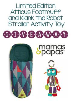 mamas and papas atticus print footmuff and stroller toy giveaway!  Love this print!