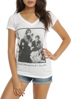 Fitted white V-neck tee from The Breakfast Club with a group photo design on the front.