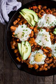 Smoky Bacon Sweet Potato Hash & Eggs - a great 30 minute recipe that's paleo…