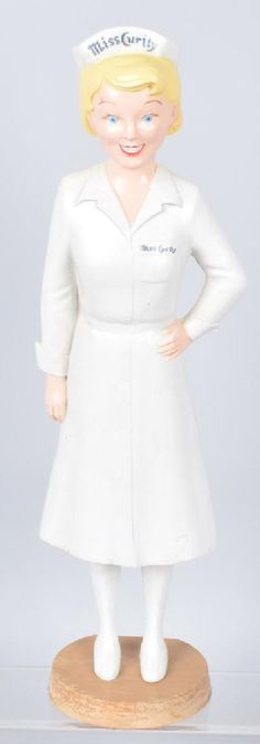 Lot: VINTAGE MISS CURITY NURSE ADVERTISING STATUE, Lot Number: 0342, Starting Bid: $50, Auctioneer: Milestone Auctions, Auction: ADVERTISING, POLITICAL, AUTOGRAPHS, JEWELRY, Date: September 16th, 2017 EDT
