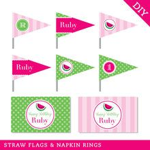 Watermelon Party Straw Flags and Napkin Rings (Digital File)