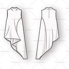 Women's Sleeveless Blouse Fashion Flat Template