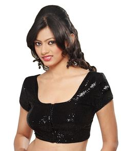 Black Shimmer Readymade Partywear Saree Blouse SNT-107-SL Your chance to look wonderful in this black color semi georgette readymade blouse. The blouse is wonderfully embroidered with sequins work all