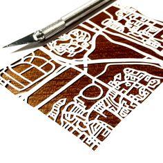 Paper cut map of Oakville ON streets by CUTdesignsrt 11x14 Frame, Fun Shots, Paper Cutting, My Etsy Shop, Maps, Design, Map, Design Comics, Peta