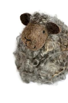 Sheep - Natural grey wool lamb - needle felted animals
