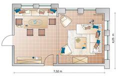 На плане отлично видно, что две группы – обеденная и гостиная визуально отделены друг от друга с помощью арки. В зоне отдыха находится угловой диван с креслами и кофейный столик. Ковер зрительно объединяет все элементы. Обеденная зона имеет большой стол вокруг, которого расположены стулья и скамья с мягкими подушками. Буфет, размещенный между двух дверей, не является центральной фигурой, а служит скорее для равновесия интерьера.