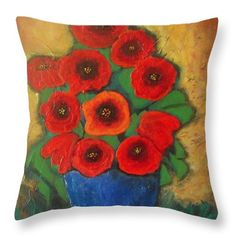 Red Poppies in Blue Vase Wood Print by Vesna Antic. All wood prints are professionally printed, packaged, and shipped within 3 - 4 business days and delivered ready-to-hang on your wall. Canvas Art, Canvas Prints, Art Prints, Pillow Sale, Red Poppies, Art Pages, Wood Print, Flower Art, Flower Vases