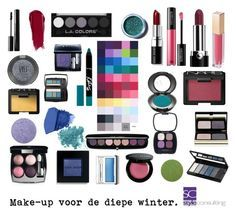 """""""Make-upkleuren voor de diepe winter. Make-up colors for a deep winter."""" By Margriet Roorda-Faber."""