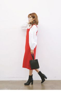 ツイード風キャミソールワンピース(レッド) | レディース・ガールズファッション通販サイト - STYLENANDA