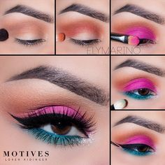 Colorful vibes for days. Ely Marino shows us how to get this summer look below. SHOP HERE: www. lippen schminken make up party schminke nageldesign japanisch Makeup Eye Looks, Eye Makeup Steps, Beautiful Eye Makeup, Pretty Makeup, Skin Makeup, Eyeshadow Makeup, Eyeshadows, Makeup Inspo, Makeup Inspiration