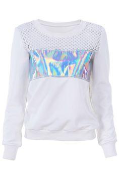 ROMWE | Holographic Print Hollow Sweatshirt, The Latest Street Fashion #unicorn