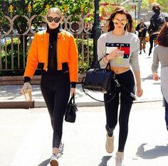 Streetstyle Bella Hadid and Gigi Hadid #TOMMYJEANS