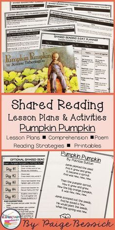 Shared reading lesson plans, activities and ideas for Pumpkin Pumpkin by Jeanne Titherington.  This shared reading resource is perfect for kindergarten and first grades.  It includes weekly lesson plans, a shared reading poem and ideas, and pumpkin life cycle pocket chart cards and worksheets.  Everything you need to use this book for a whole week of shared reading.