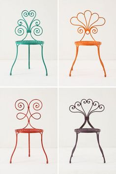 Brightly colored wire chair stools for outdoor garden. New Furniture, Furniture Making, Garden Furniture, Painted Furniture, Garden Chairs, Patio Chairs, Kitchen Chairs, Office Chairs, Adirondack Chairs