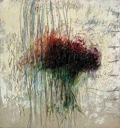 """Thierry Savini, """"Bouquet de nerfs"""", Matière minérale, huile et mine de plomb sur bois,  130 x 122 cm, 2006"""
