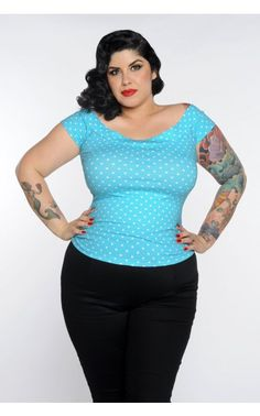 Pinup Girl Clothing- Marilyn Top in Aqua with White Dots – Plus Size | Pinup Girl Clothing