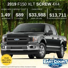 March 2019 DoorCrasher deal on 2019 #F150 SuperCrew. Comes with 300A Group Equipment, Screen, 4x4, and more features. Lease it for $89/week or own it with 0% Purchase Finance. Ford Employee, Car Deals, Special Deals, Ontario, 4x4, Finance, March, Group, Best Deals