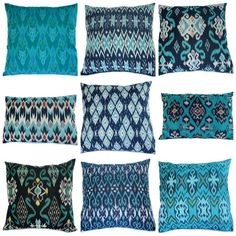 Pillow Set Love these colors and designs -- not sure how to translate them into web design though. (ikat pillow set from on etsy)Love these colors and designs -- not sure how to translate them into web design though. (ikat pillow set from on etsy) Textiles, Pillow Set, Pillow Covers, Pillow Talk, Pillow Fight, Cushion Covers, Post Holiday Blues, Ikat Pillows, Blue Cushions