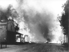 """Melody Ranch Burns Down, Aug 28,1962. When the smoke cleared three days later, 17,200 acres had been scorched and 15 structures and numerous out-buildings were lost. No one was killed, but the Western street at Melody Ranch was gone. """"I had always planned to erect a Western museum there,"""" Autry remembered in 1995, """"but priceless Indian relics and a collection of rare guns, including a set used by Billy the Kid, went up in smoke."""