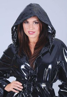 Black PVC Hooded Raincoat (With images) Best Rain Jacket, North Face Rain Jacket, Rain Jacket Women, Vinyl Raincoat, Pvc Raincoat, Hooded Raincoat, Long Raincoat, Parka, Werewolves