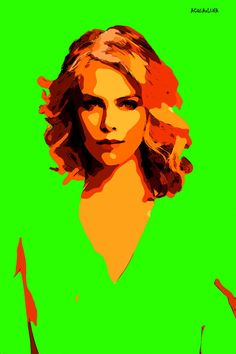 73-POP Art. Charlize Theron V. (Pintura),  40x60 cm por ACQUAeLUNA Retrato POP Art Celebridades. La obra en tela se envía en un tubo reforzado para ser enmarcado por el coleccionista. Certificado de Autenticidad.   POP Art. En los cielos del arte hemos recorrido el vuelo del águila. Ahora, bajamos a la calle y sentimos el murmullo de lo cotidiano. (ACQUAeLUNA) Art in heaven we have come flying eagle. Now, we drove down the street and feel the buzz of everyday life.